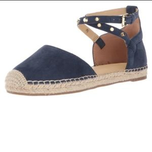 Marc Fisher Blue Maci Suede Studded Espadrilles 10